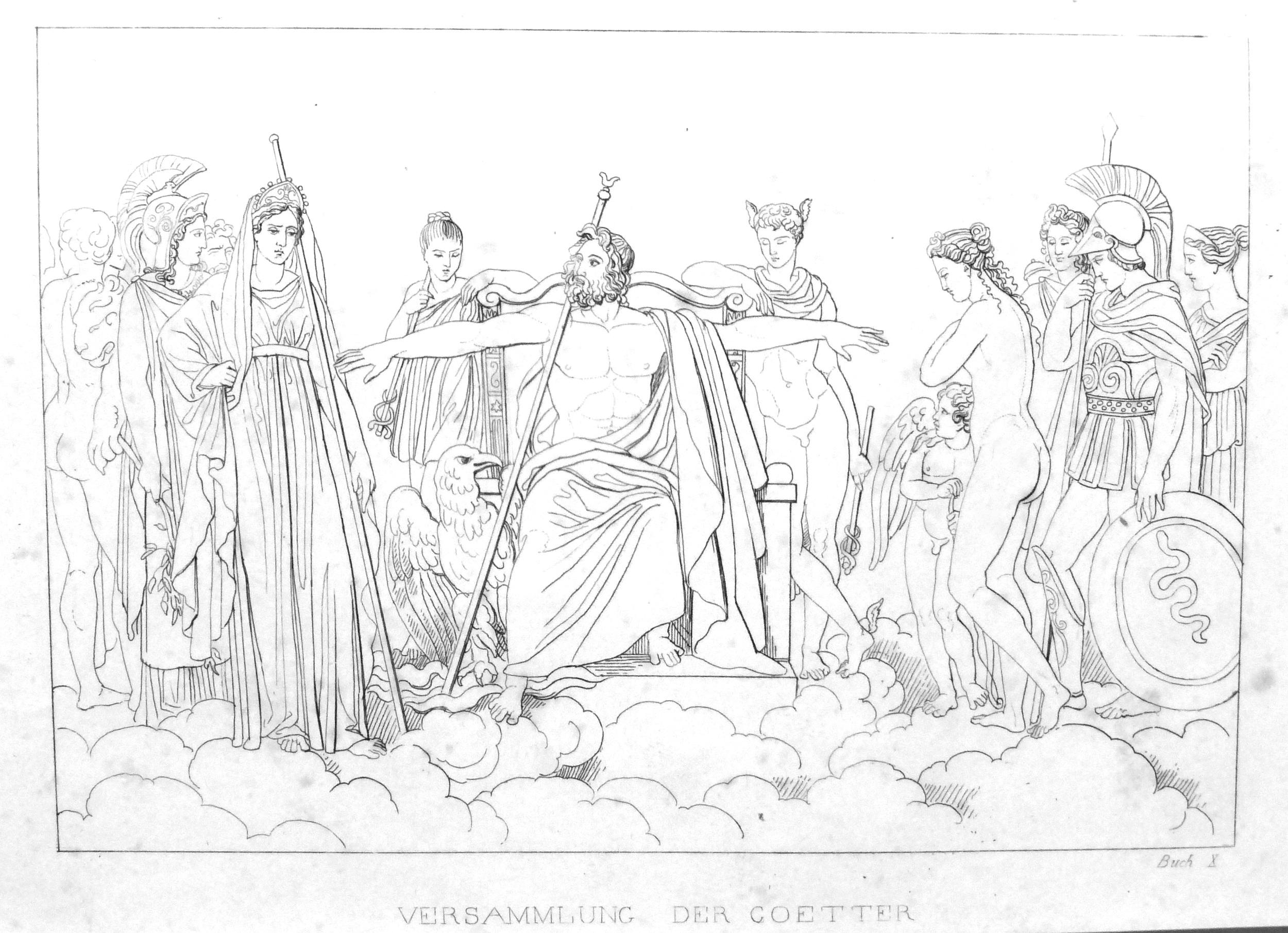 Die Götterversammlung - Vergil, Aeneis, 10. Buch - großes Bild
