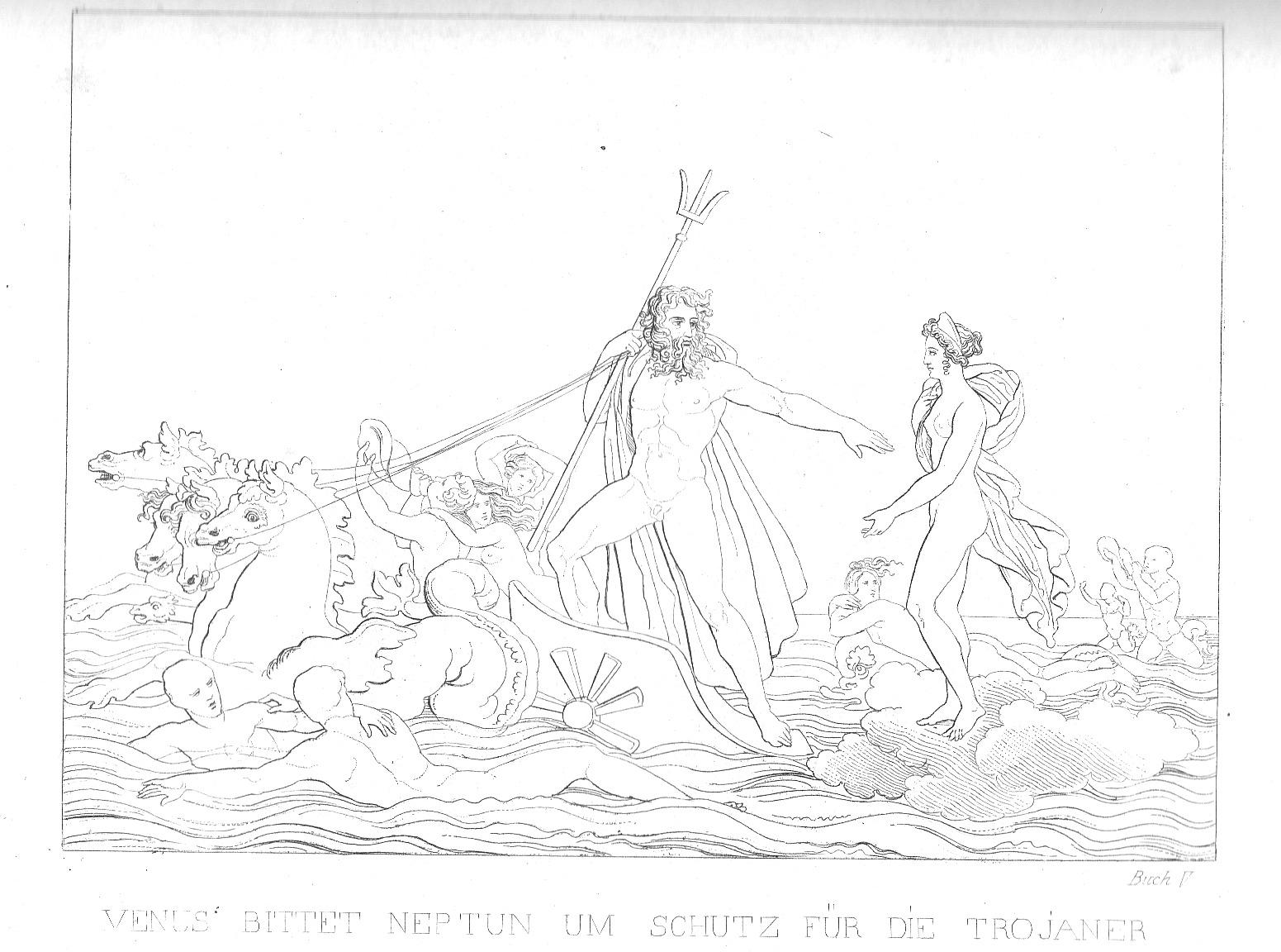 Venus bittet Neptun um Schutz für die Troianer - Aeneis, 5. Buch (großes Bild)