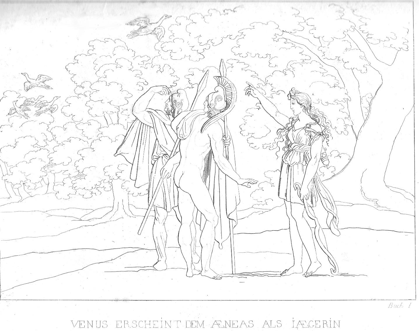 Venus erscheint Aeneas als Jägerin (Vergil, Aeneis) - großes Bild