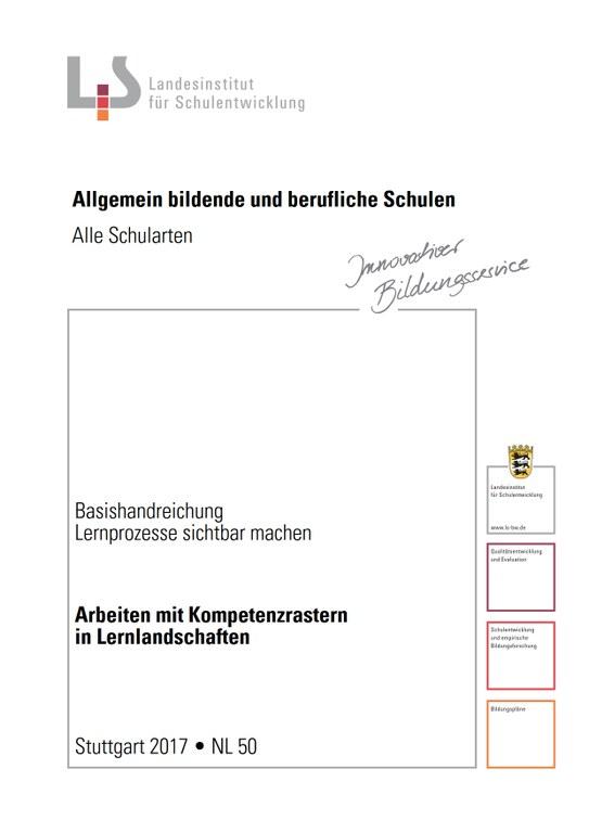 """Das ist das Titelblatt der Basishandreichung """"Lernprozesse sichtbar machen. Arbeiten mit Kompetenzrastern in Lernlandschaften"""" (NL-50)."""