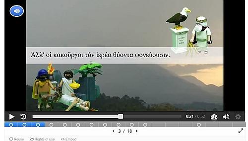 Screenshot aus dem Lernvideo zum Partizip im Griechisch-Portal