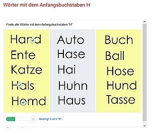 Screenshot aus der Übung zum Buchstaben H
