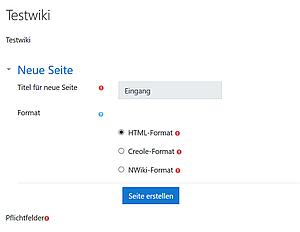 Erste Seite anlegen im Moodle-Wiki